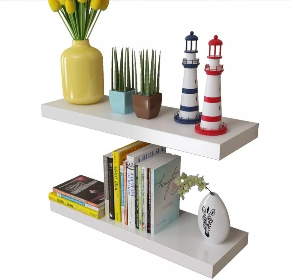 Rak Buku Pajangan Melayang Warna Putih Floating Shelves Dekorasi Dinding
