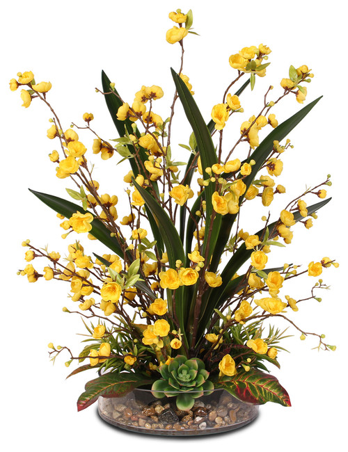 Pot Bunga Kaca Dengan Bunga Palsu Artificial Warna Kuning