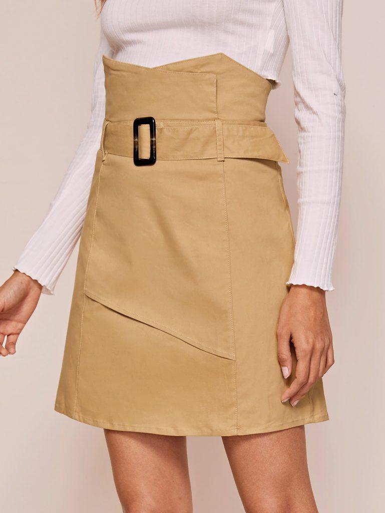 rok korea high waist dengan ikat pinggang atau belt warna cokelat susu cream