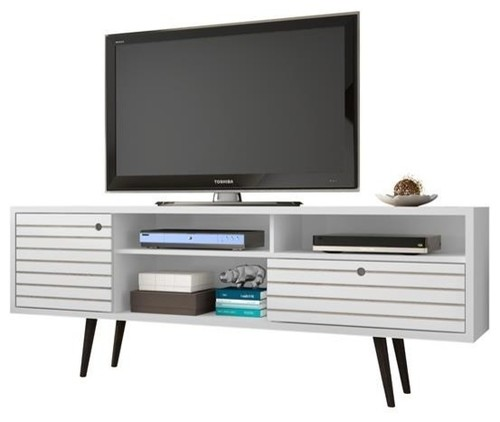Modern TV Stand with Shelving Spaces and Drawer